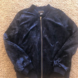 Crushed Blue Velvet Zip Jacket
